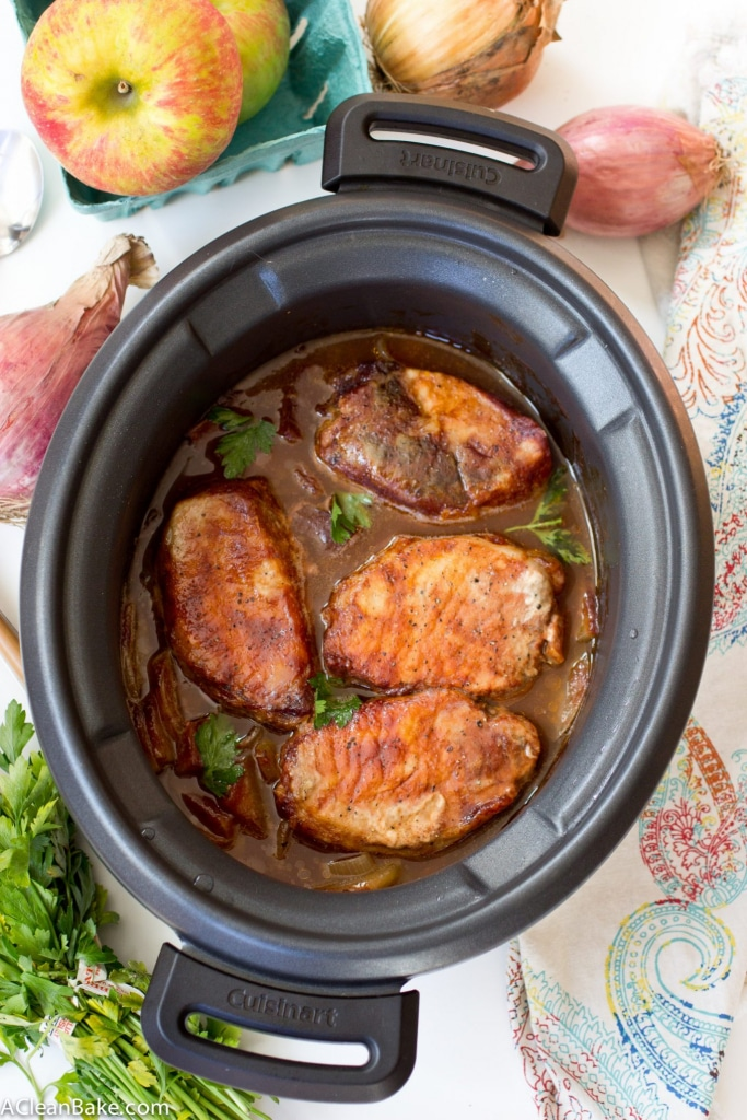 Crockpot BBQ Pork Chops with Apples and Onions. This recipe is mostly hands-off cooking time and is healthy too! Perfect for weeknight dinners.