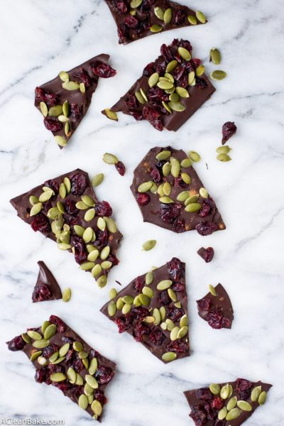 Cranberry Pumpkin Seed Dark Chocolate Bark (Gluten Free and Paleo)