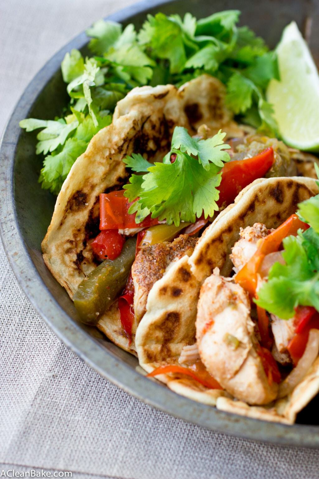 Slow Cooker Chicken Fajitas (Gluten Free, Paleo, and Whole30)