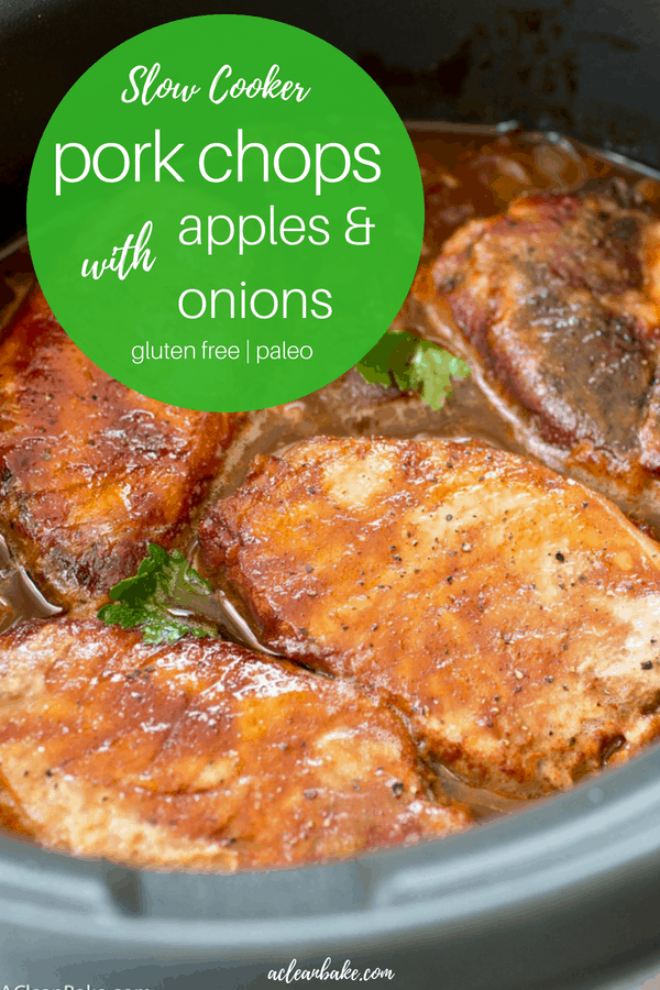 Crockpot BBQ Pork Chops with Apples and Onions. This recipe is mostly hands-off cooking time and is healthy too! Perfect for weeknight dinners. #glutenfree #paleo #dairyfree #whole30 #healthy #dinner #recipe #slowcookerrecipe #crockpotrecipe #glutenfreedinner #paleodinner #onepotmeal #easydinnerrecipe #healthydinnerrecipe #easydinner #healthydinner #glutenfreedinner #paleodinner