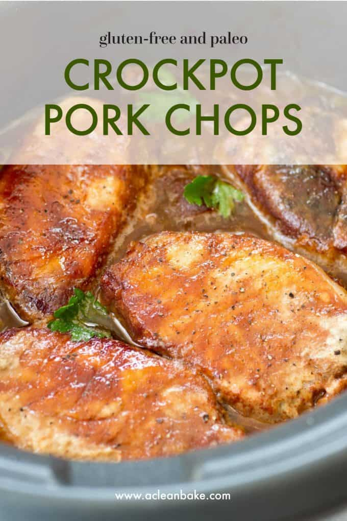 Dinner is served: easy, healthy slow cooker pork chops made with BBQ sauce, apples, and onions! Use boneless or bone-in chops, whatever you have around, and let the crockpot do the work. It's naturally gluten free, paleo, and adaptable to whole30. #healthydinner #healthydinneridea #slowcookerdinner #easyslowcookerdinner #healthyslowcookerdinner #crockpot #slowcooker #porkchoprecipe #glutenfreerecipe #glutenfreedinner #paleorecipe #paleodinner #whole30 #whole30recipe #whole30dinner