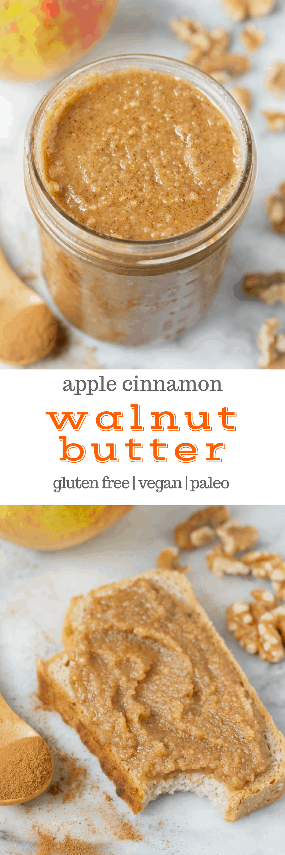 Apple Cinnamon Walnut Butter (#glutenfree #paleo #vegan #naturallysweetened #noaddedsugar #realfood #recipe #nutbutter)