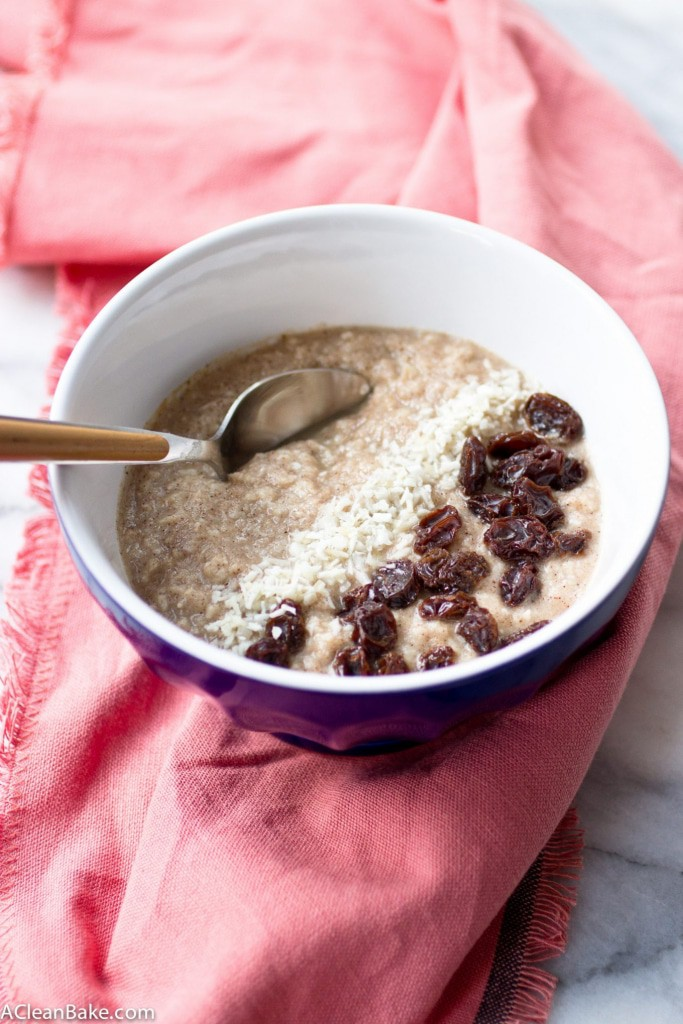 Grain free hot cereal takes 3 minutes to make and it fills you up and warms your belly just like oatmeal - but without the grains! (gluten free, grain free, paleo friendly, vegan and nut-free adaptable)