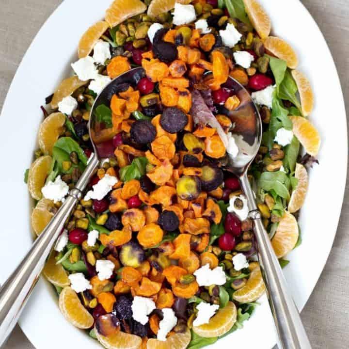 Roasted Rainbow Carrot Salad with Cranberries, Pistachios and Honey Dijon Vinaigrette