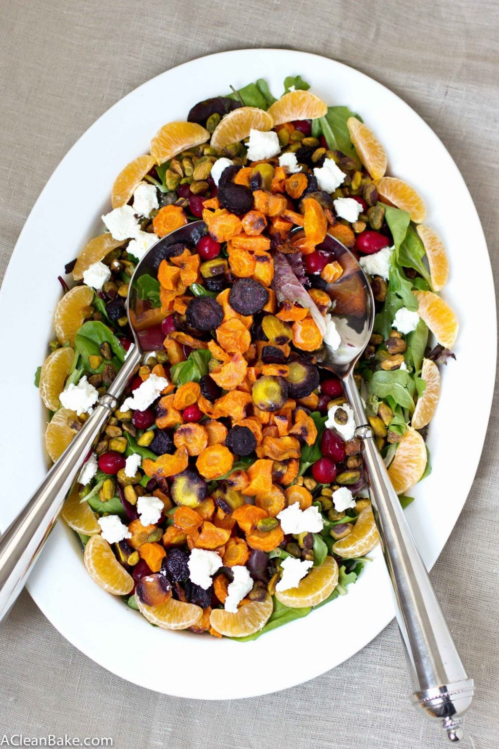 Roasted Rainbow Carrot Salad with Cranberries, Pistachios and