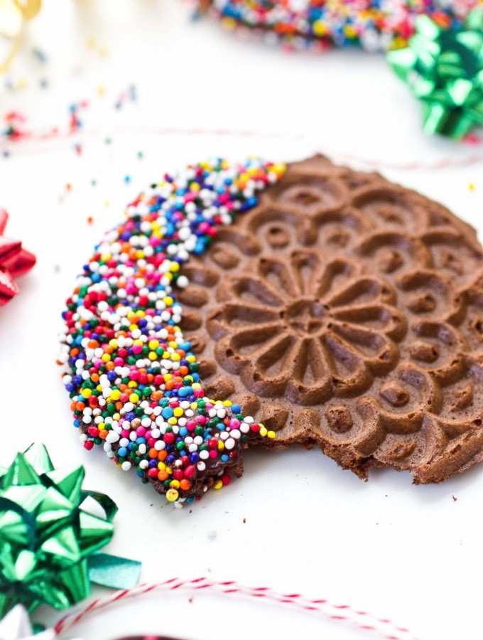 Grain Free Chocolate Pizzelles (with Simple Mills)
