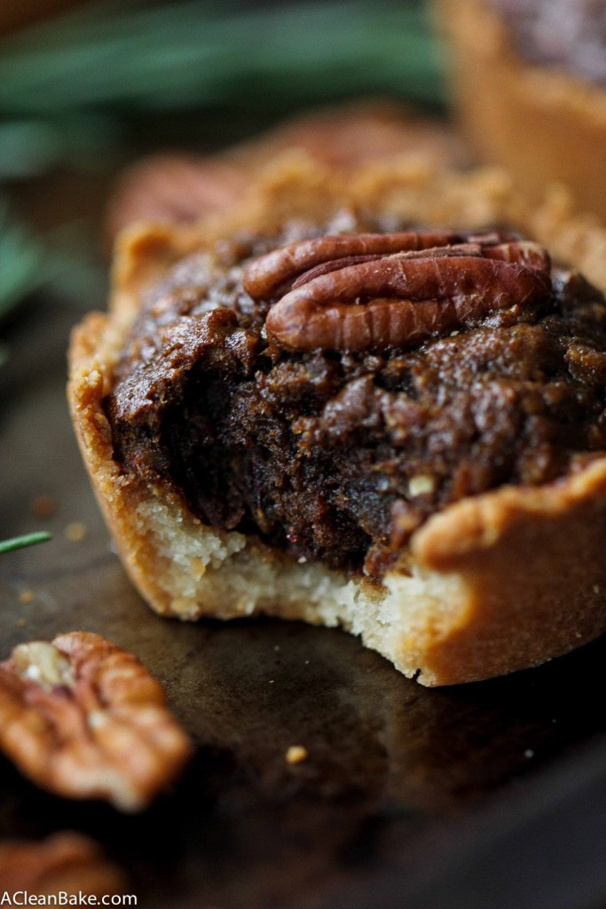 Grain free, gluten free and naturally sweetened mini pecan pies that come together after a quick spin in the food processor!