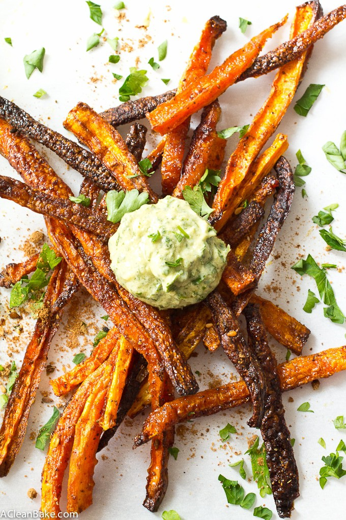 Baked Shoestring Carrot Fries with Green Tahini Dipping Sauce