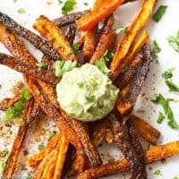 Baked Carrot Fries with Za'atar and Creamy Green Sauce