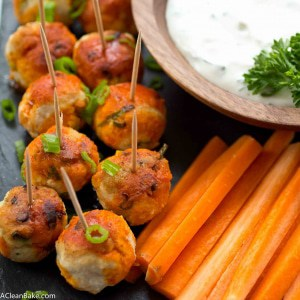 Buffalo Chicken Meatballs are a gluten free and paleo party snack that everyone will love! (Low carb, dairy free and sugar free, too)