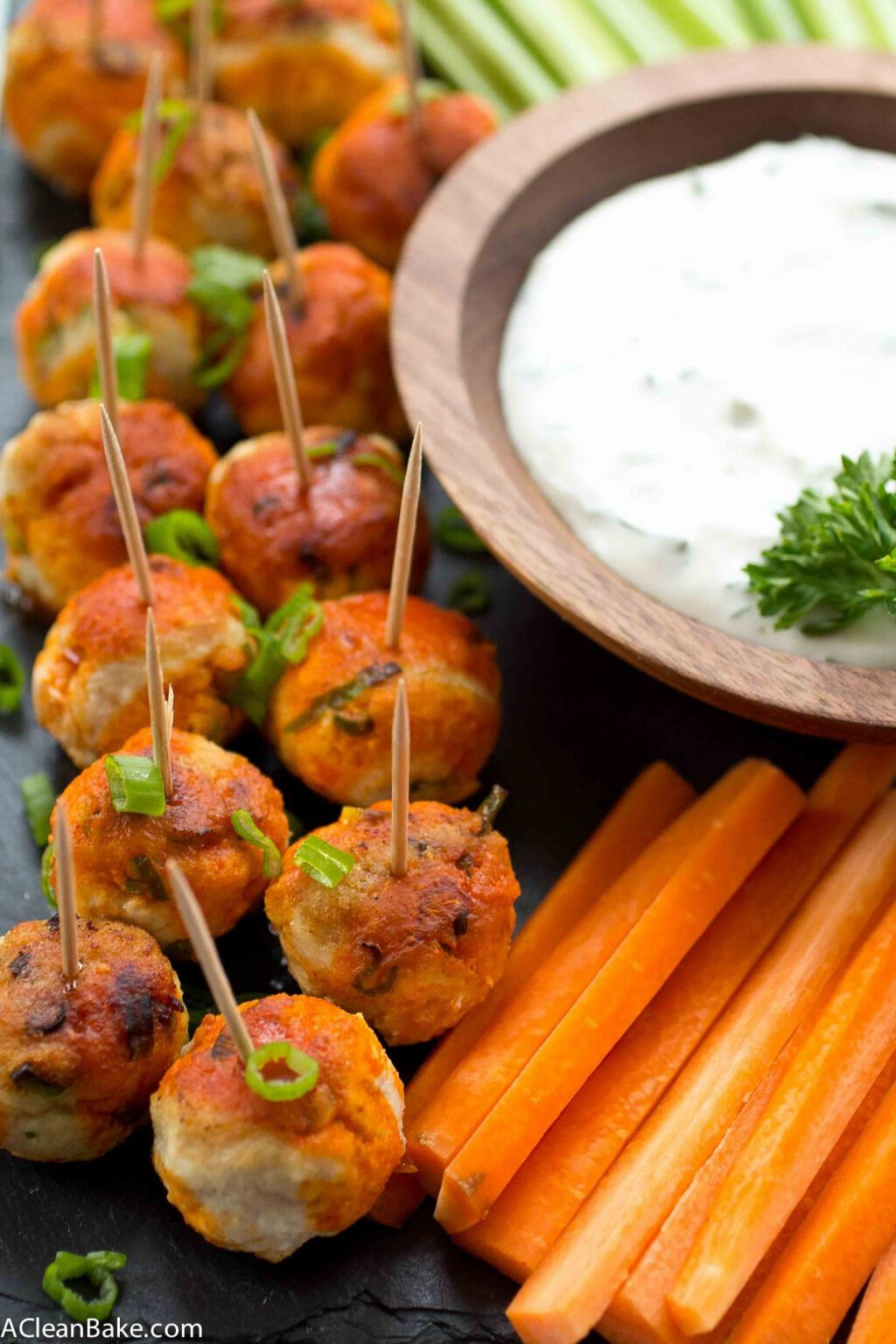 Buffalo Chicken Meatballs (Gluten Free and Paleo)