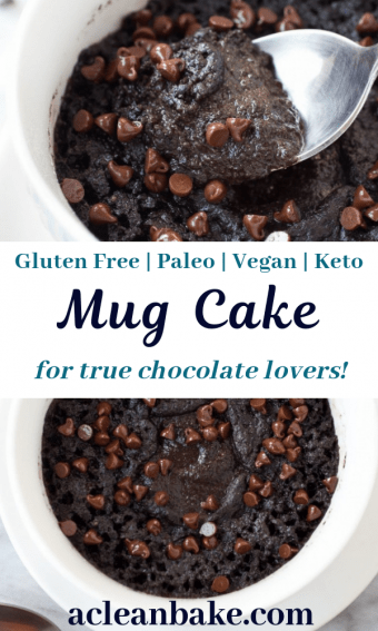 chocolate mug cake topped with morsels made in a coffee mug