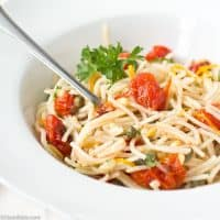 Quinoa Spaghetti with Roasted Tomatoes, Capers and Pine Nuts