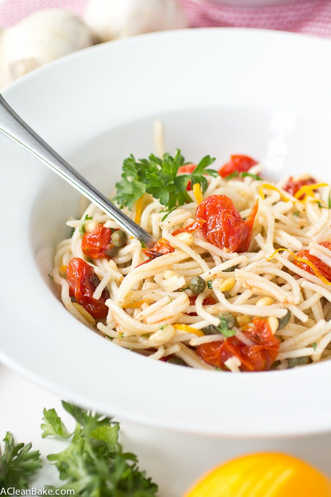 Quinoa Spaghetti with Roasted Tomatoes, Capers and Pine Nuts (Gluten Free)