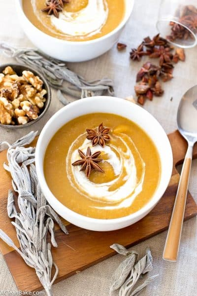 Creamy Pumpkin Sage Soup (Gluten Free, Paleo, Vegan, and Whole30)