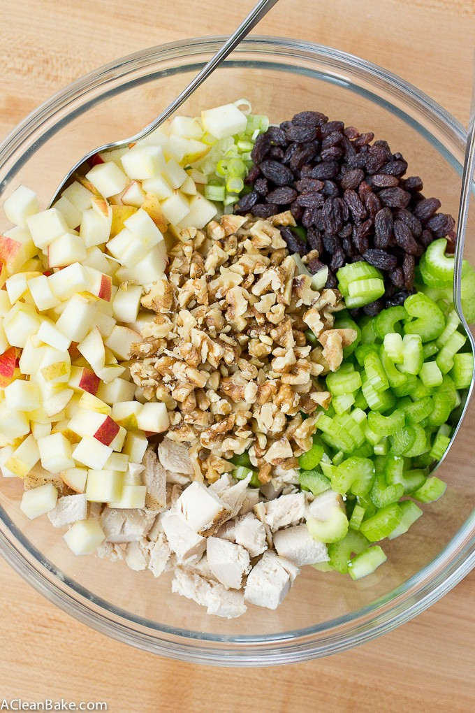 Waldorf Salad (Chicken Salad with Apples, Walnuts and Raisins) is an easy gluten free, paleo and dairy free lunch!