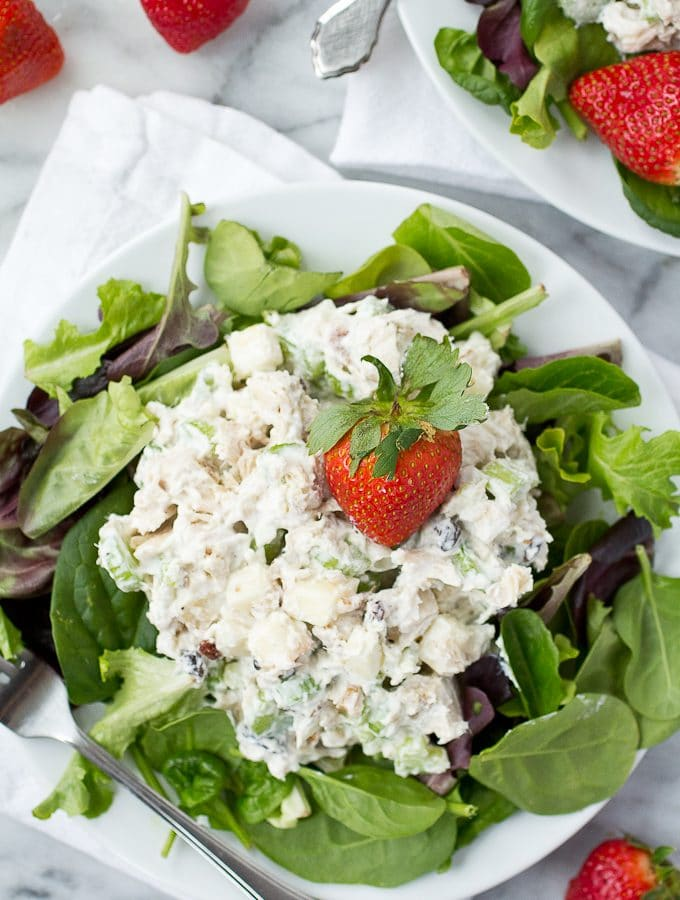 Waldorf Salad (Chicken Salad with Apples, Walnuts and Raisins)