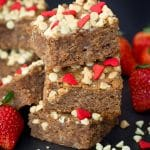Gluten Free and paleo Strawberry White Chocolate Snacking Cake that is so easy that you can make it in the food processor!