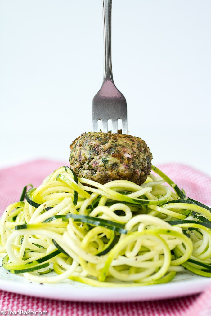 These fat, moist meatballs pack a huge serving of veggies in every bite! (gluten free, grain free, paleo and Whole30 compliant)