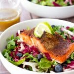 Jerk Salmon with Radicchio Blueberry Slaw and Sherry Vinaigrette
