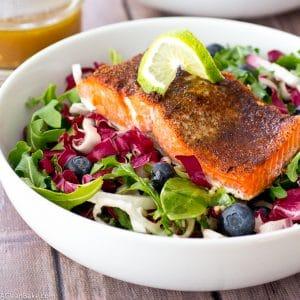 Jerk Salmon with Radicchio Blueberry Slaw and Sherry Vinaigrette (gluten free, low carb, paleo)