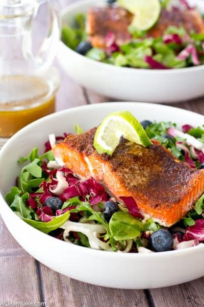 Jerk Salmon with Radicchio Blueberry Slaw and Sherry Vinaigrette (gluten free, low carb, paleo)