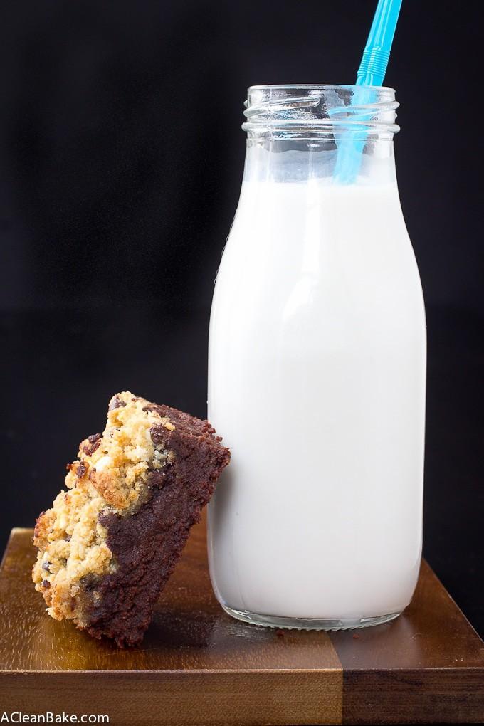 Paleo Brookies - Brownie/Cookie Hybrid Bars (gluten free, grain free, lower carb, naturally sweetened