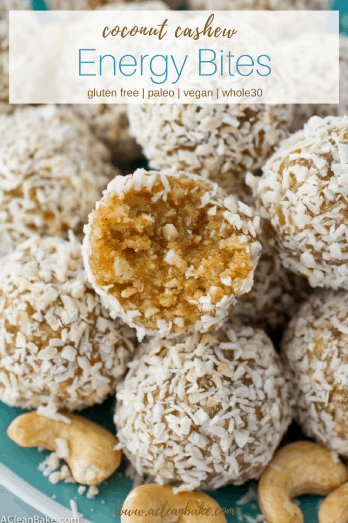 Coconut Cashew Energy Bites are a clean eating and whole 30 friendly snack or dessert that keeps you going! Made from real food, #glutenfree, #paleo and #vegan ingredients. Easy to make and healthy and delicious to eat! #glutenfree #glutenfreerecipe #glutenfreerecipes #glutenfreesnacks #paleo #paleosnack #paleorecipe #paleorecipes #whole30 #whole30snack #whole30recipe #whole30recipes #cleaneating #realfood #cleaneatingsnack #whole30snack #healthysnack #vegan #vegansnack #veganrecipe #veganrecipes
