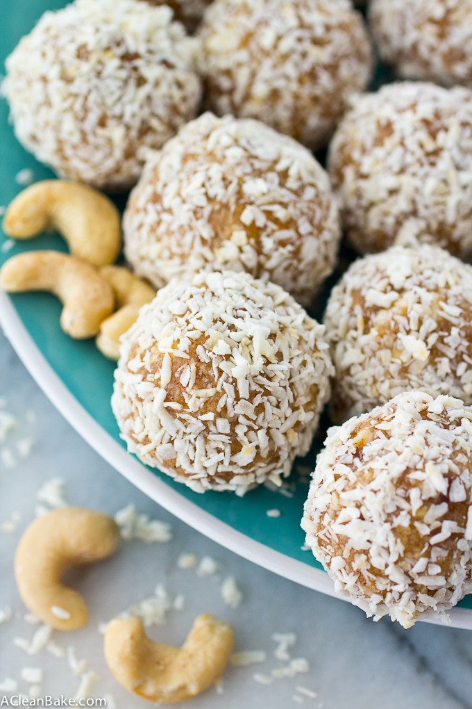"Coconut Cashew ""Amazeballs"" Energy Bites (Gluten Free, Paleo, and Vegan)"