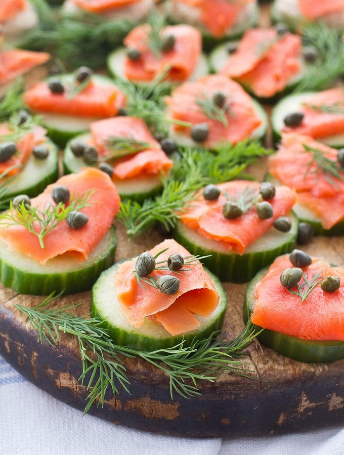 Smoked Salmon Cucumber Bites (Gluten Free, Paleo, Low Carb, and Whole30)