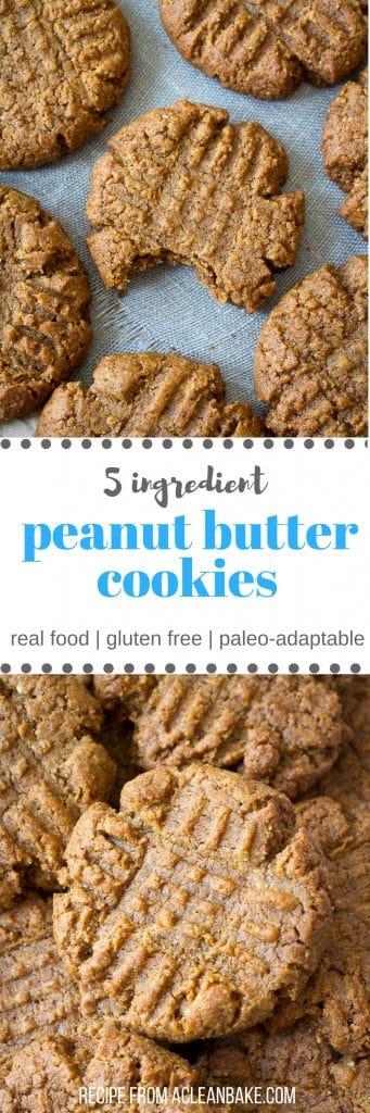 5 Ingredient Peanut Butter Cookies (gluten free, paleo adaptable)