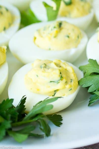 Herbed Deviled Eggs (Gluten Free, Paleo, Low Carb, and Whole30)