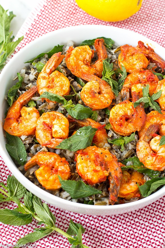 Cold Wild Rice Salad with Harissa Shrimp and Mint (gluten free, dairy free)