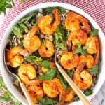 Cold Wild Rice Salad with Harissa Shrimp and Mint