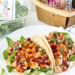 Fish Tacos with Beet-Nectarine Salsa and Baby Greens (gluten free)
