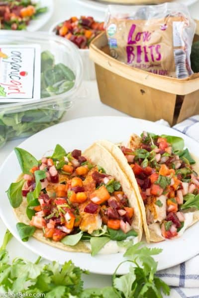 Fish Tacos with Beet-Nectarine Salsa (Gluten Free and Paleo)