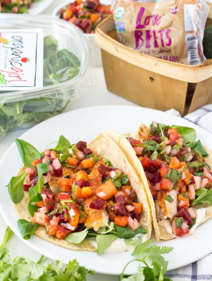 Fish Tacos with Beet-Nectarine Salsa