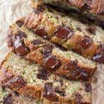 Chocolate Chunk Zucchini Bread (Gluten free, paleo, lower carb, dairy free)