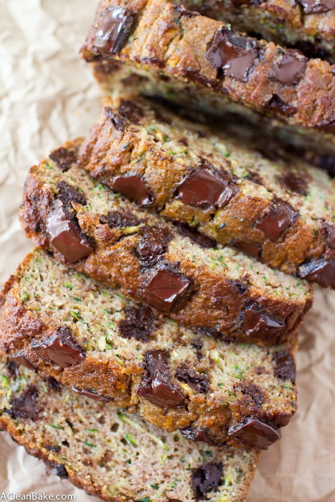Chocolate Chunk Zucchini Bread (Gluten Free and Paleo)