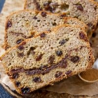 Cinnamon Raisin Swirl Bread (Gluten Free, Paleo, and Yeast Free)