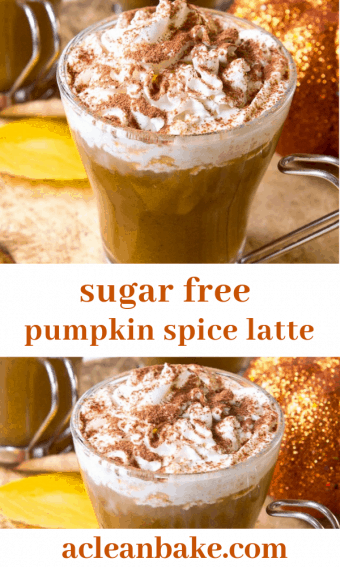Glass filled with pumpkin spice latte topped with creamy froth and spice sprinkles.