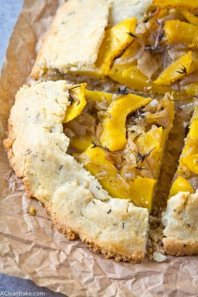 Acorn Squash Galette with Caramelized Onions and Thyme (Gluten Free and Paleo)