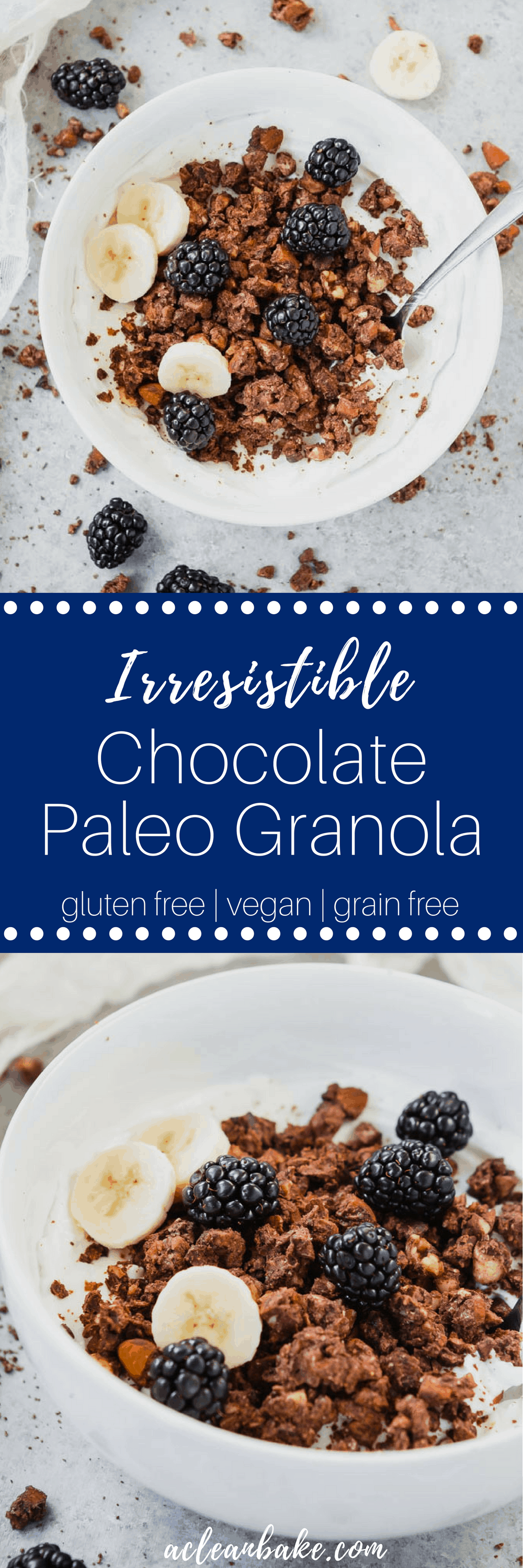Paleo granola is a hearty, delicious homemade breakfast cereal that is made from nuts, coconut, and chocolate! This gluten free, dairy free, and lower carb paleo granola is irresistible! #paleobreakfast #paleobreakfastrecipe #granolarecipe #healthybreakfast #healthybreakfastrecipe #glutenfreebreakfast #glutenfreerecipe #glutenfreebreakfastrecipe #chocolaterecipe #healthychocolaterecipe #dairyfree #dairyfreebreakfast #vegan #veganrecipe #veganbreakfast #veganbreakfastrecipe