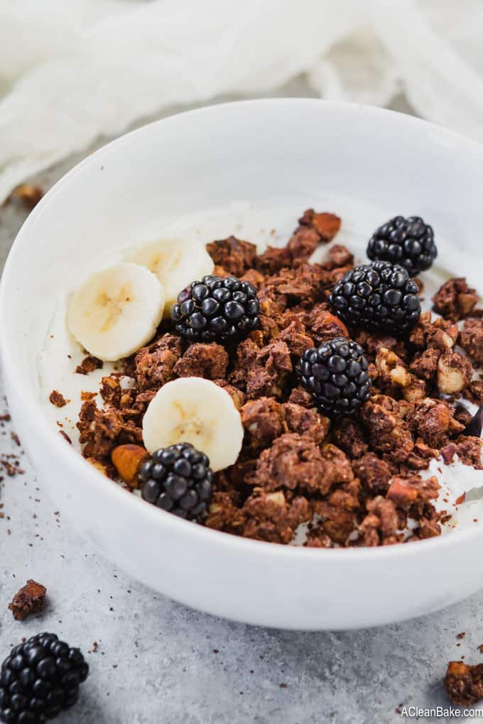 Paleo granola is a hearty, delicious homemade breakfast cereal that is made from nuts, coconut, and chocolate! This gluten free, dairy free, and lower carb paleo granola is irresistible!