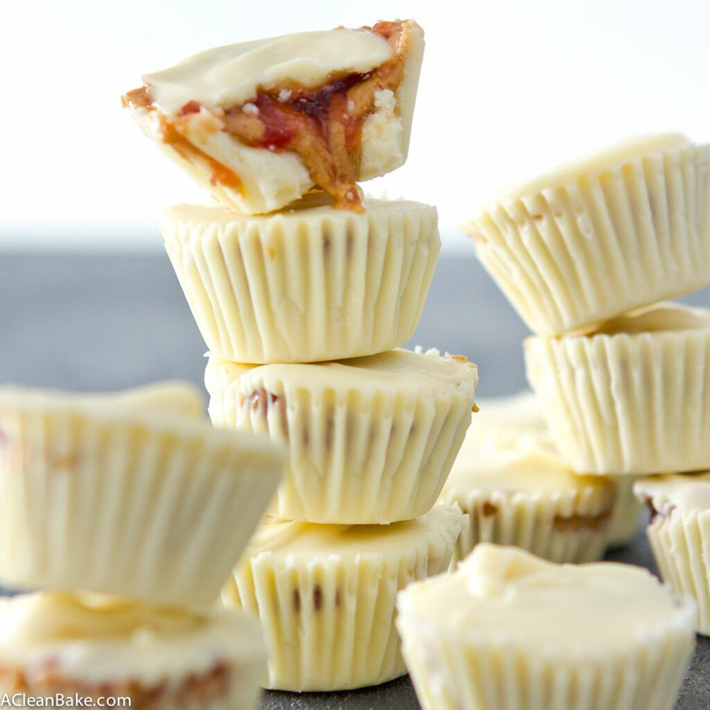 3-Ingredient White Chocolate Peanut Butter & Jelly Cups