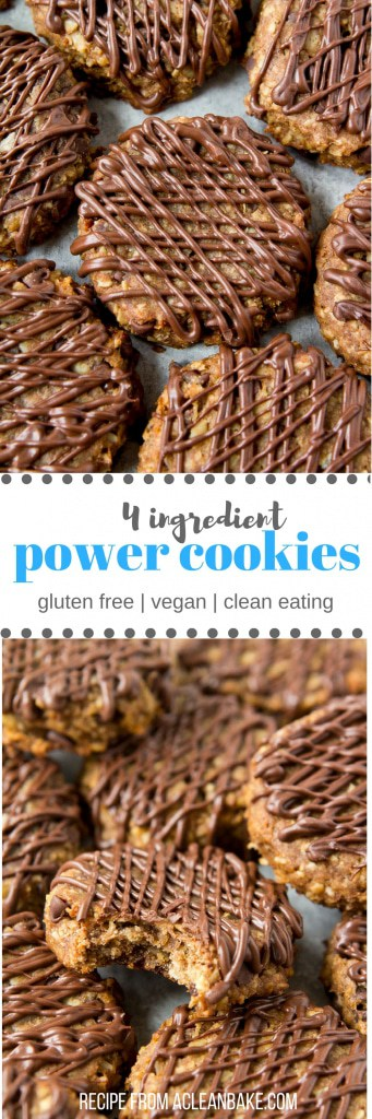 Healthy oatmeal banana cookies with a chocolate drizzle! Only 4 ingredients. #glutenfree #vegan #cleaneating #wholegrain #cookie #dessert #snack #recipe
