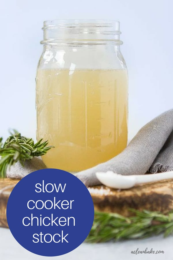 Slow Cooker Chicken Stock #glutenfree #paleo #keto #guthealth #soup #souprecipe #souprecipes #slowcooker #slowcookerrecipe #slowcookerrecipes #healthyfood #healthyrecipe #healthyrecipes