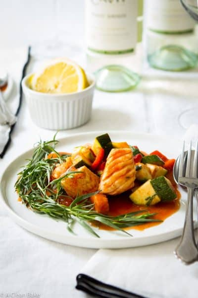 Braised Cod with Summer Vegetables (Gluten Free, Paleo, Low Carb)