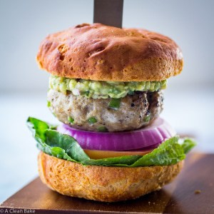 Paleo Jalapeno Burger with Guacamole and Lettuce Wrap