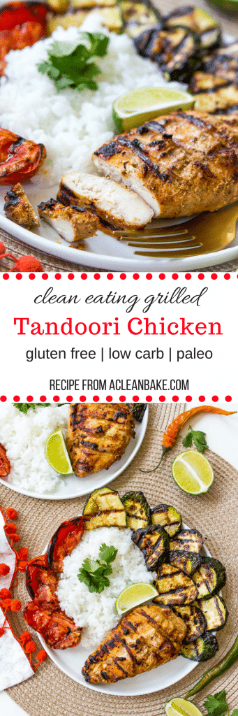 Clean Eating Grilled Tandoori Chicken - a perfect make ahead option for weeknight dinner! (gluten free, paleo, low carb)